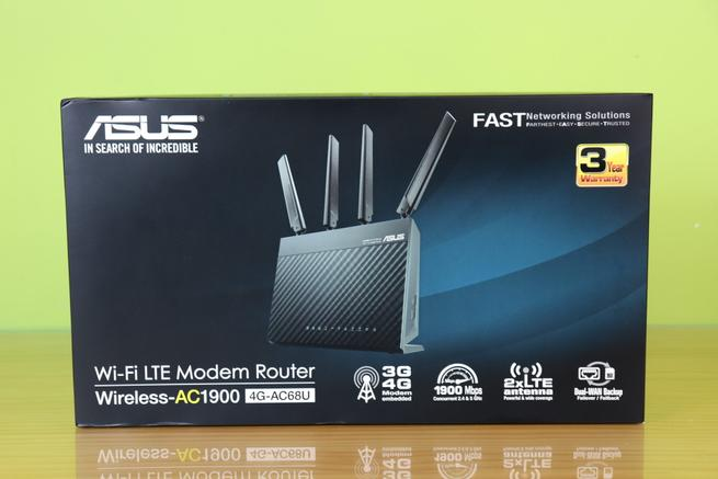 Frontal de la caja del router 4G ASUS 4G-AC68U