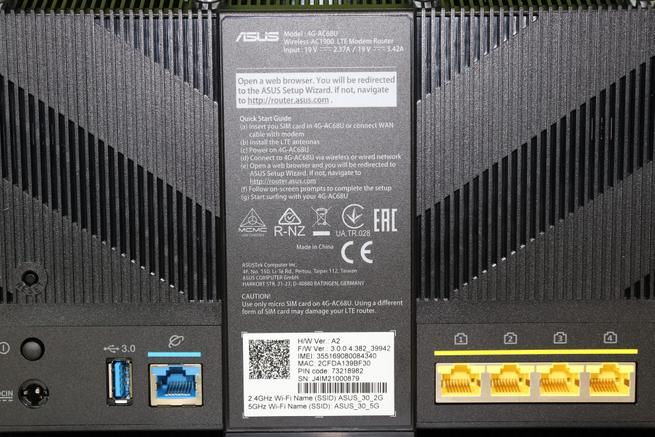 Conoce la leyenda con información de instalación del router 4G ASUS 4G-AC68U