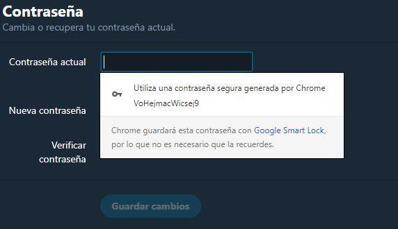 Contraseña generada Google Chrome