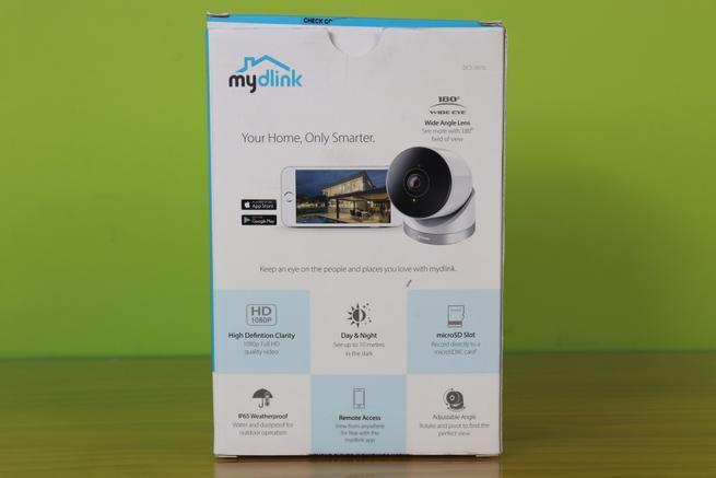 Trasera de la caja de la cámara IP D-Link DCS-2670L con las características