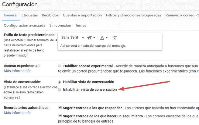 Desactivar vista conversación Gmail Web