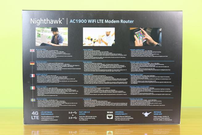 Trasera de la caja del router 4G NETGEAR Nighthawk R7100LG