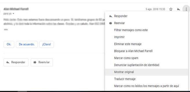 Mostrar el mensaje original en Gmail