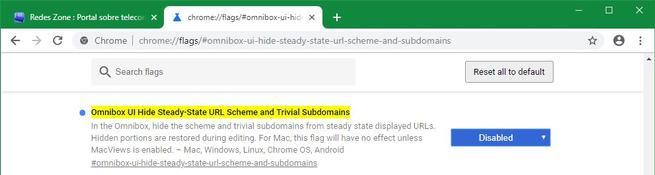 Desactivar nueva omnibarra flag Google Chrome