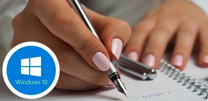 Escritura a mano Windows 10