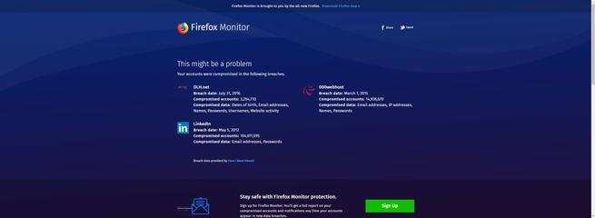 Firefox Monitor - datos robados