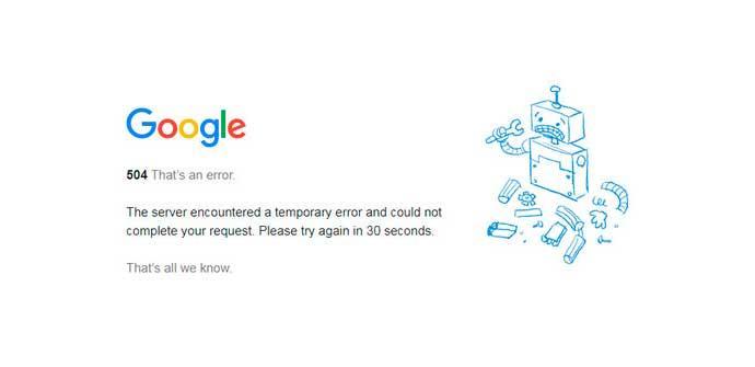 Google Error 504