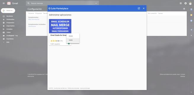 Quitar extensión Gmail