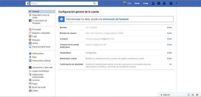 Configuración de Facebook para descargar fotos