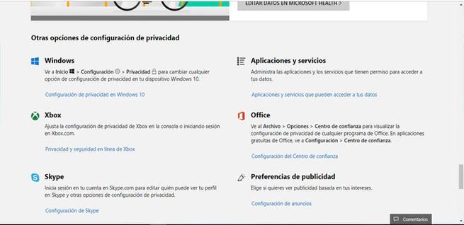 Quitar permisos aplicaciones Microsoft