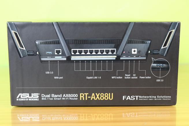 Lateral derecho de la caja del router ASUS RT-AX88U en detalle