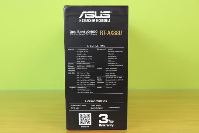 Especificaciones técnicas del router ASUS RT-AX88U en detalle