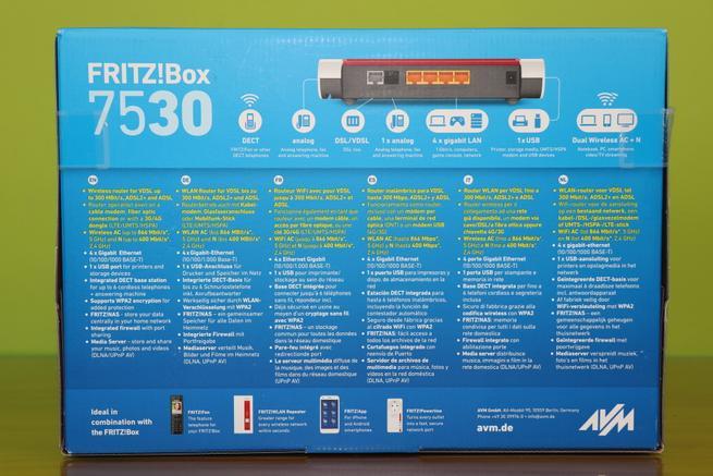 Trasera de la caja del router AVM FRITZ!Box 7530 con sus características
