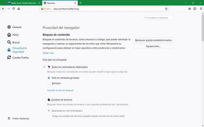 Opciones de privacidad Firefox 63