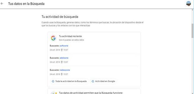 Actividad de búsquedas de Google