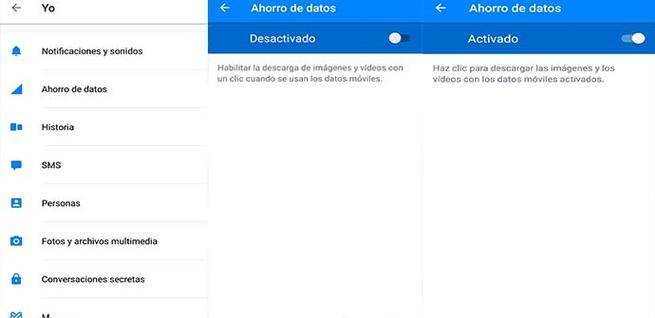 Activar el ahorro de datos en Facebook Messenger