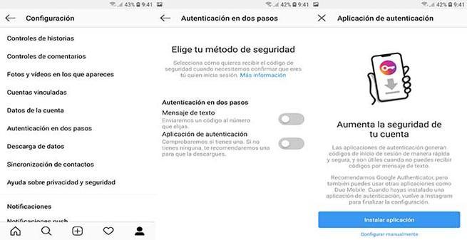 Activar la autenticación en dos pasos en Instagram