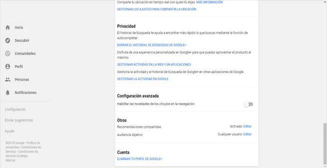 Borrar la cuenta de Google +