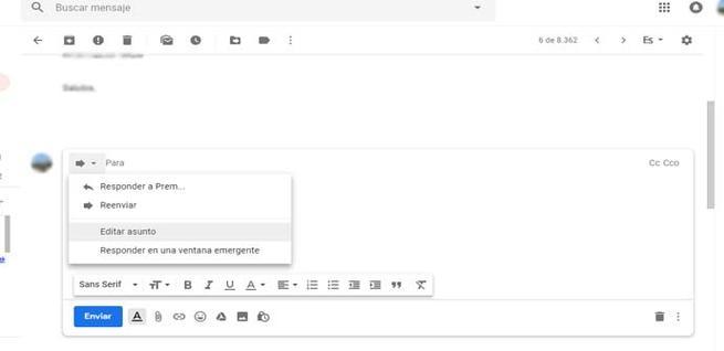 Cambiar asunto correo en Gmail