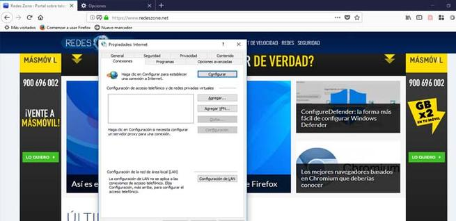 Configurar la conexión Proxy en Windows