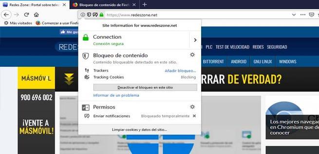 Cuadro de información de seguridad y privacidad de Firefox