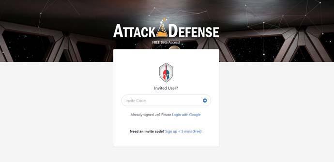Crear una cuenta en AttackDefense