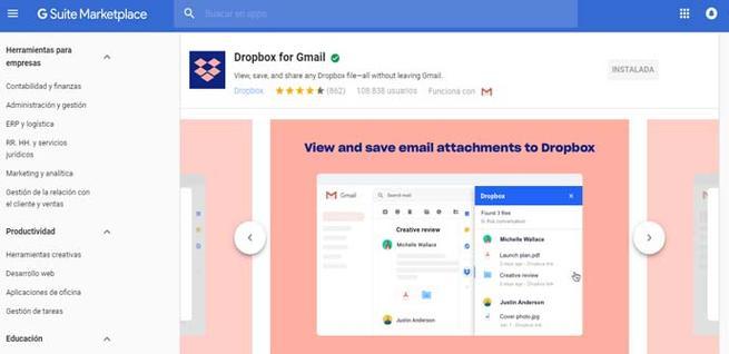 Dropbox agregado para Gmail