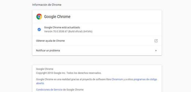 Comprobar que Google Chrome está actualizado