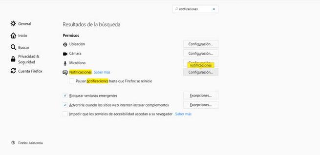 Quitar notificaciones en Firefox