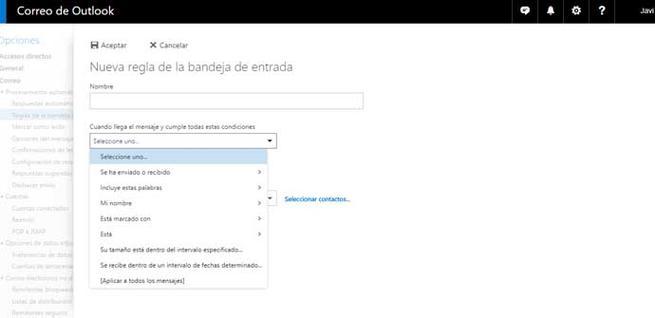 Crear reglas para reenviar correos en Outlook