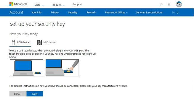 Añadir nueva llave de seguridad a cuenta Microsoft en Windows 10