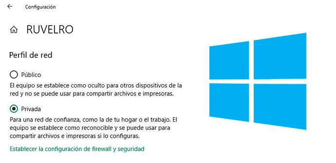 Cambiar tipo red Windows 10