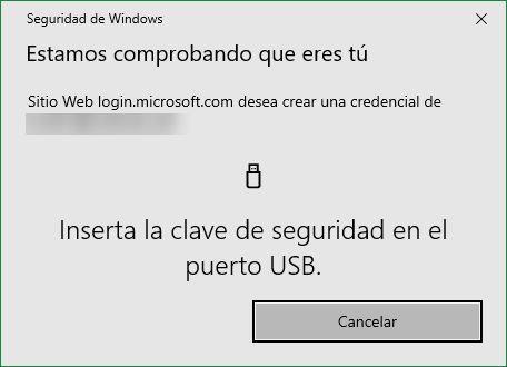 Credenciales llave FIDO2 Windows 10