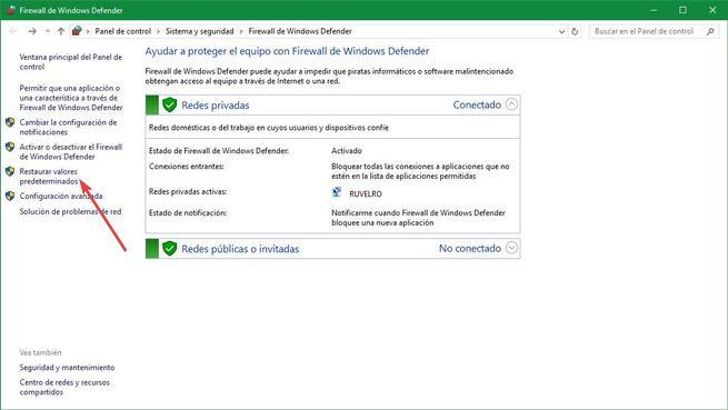 Restaurar valores predeterminados firewall Windows 10