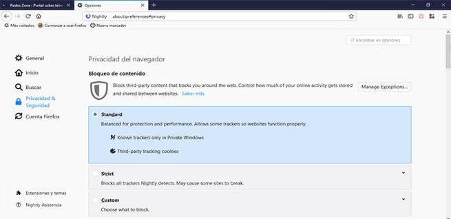 Bloqueo de contenido en Firefox 65