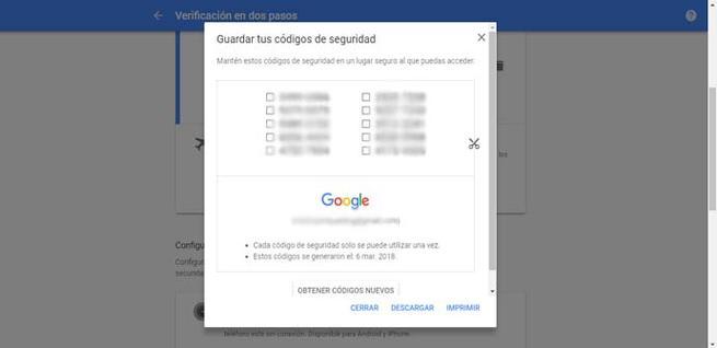 Códigos de seguridad de Google