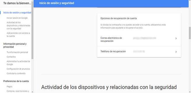 Eliminar móvil en la recuperación de Google