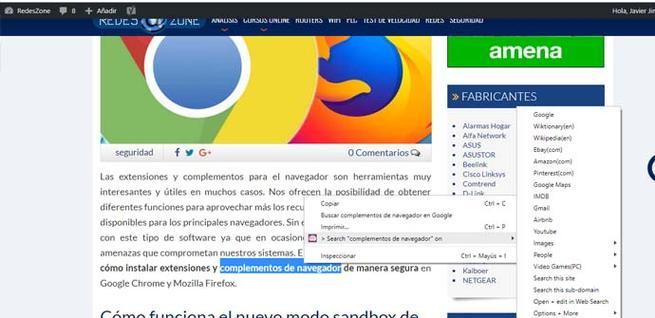 Extensión para búsquedas en Chrome