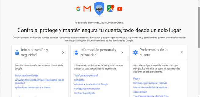 Información personal y privacidad de Google