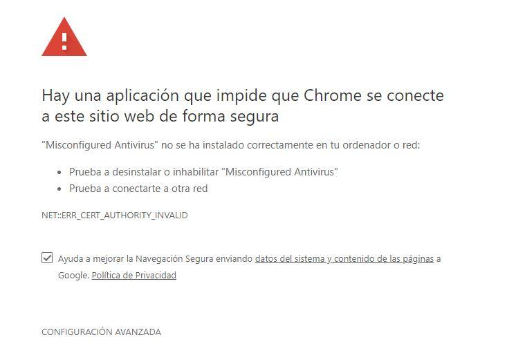 interstitials errores Google Chrome