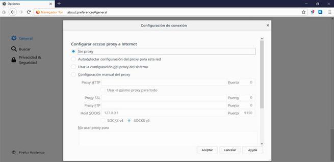Configurar Tor Launcher sin Proxy