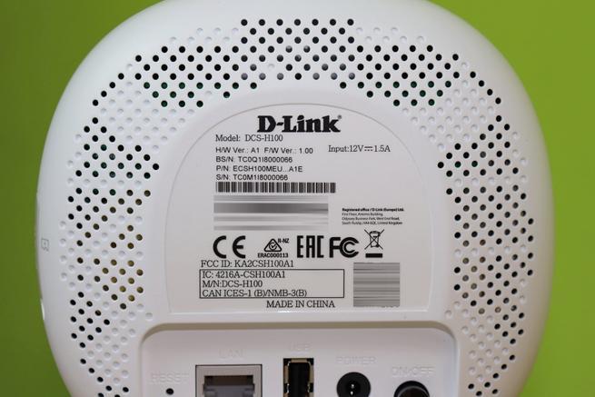 Pegatina de la base de cámaras IP D-Link DCS-2802KT en detalle