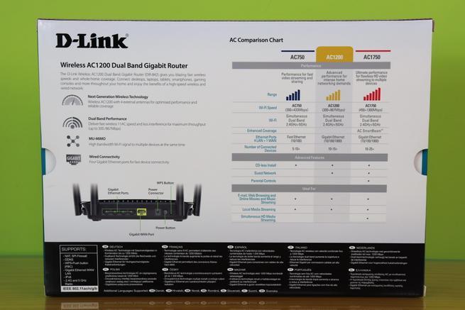 Trasera de la caja del router neutro D-Link DIR-842