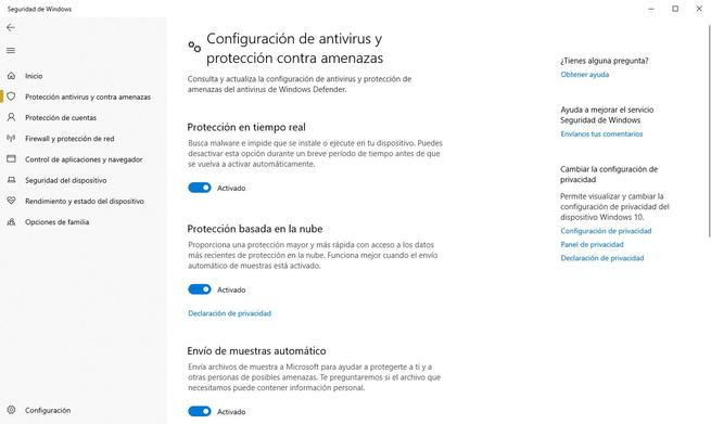 Habilitar Deshabilitar Windows Defender