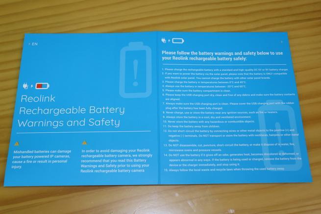 Precauciones y recomendaciones con la batería de la cámara Reolink Go