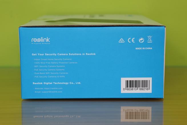Lateral derecho de la caja con los principales productos de Reolink