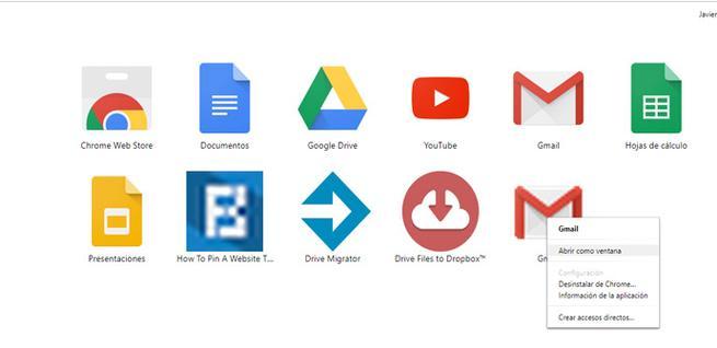 Acceso directo de Gmail en Chrome