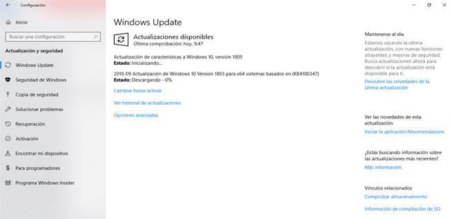 Comprobar actualizaciones de Microsoft