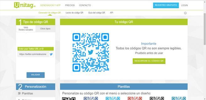 Código QR del Twitter de RedesZone