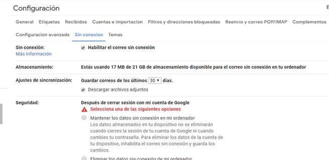 Habilitar modo sin conexión en Gmail